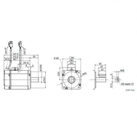 Servo Motor Panasonic - 750W 2.4N.m - MSMD082J1U